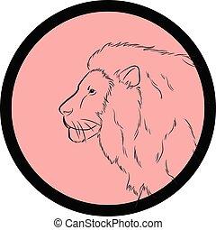Lion Face Closeup Vector