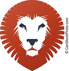 Lion Face heraldic animal element. Heraldic Coat of Arms decorative logo isolated vector illustration.