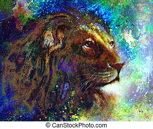 lion face profile portrait, on colorful abstract  background..