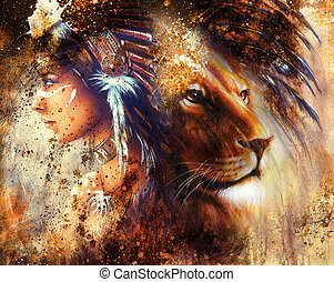 lion face profile portrait, on colorful abstract background...
