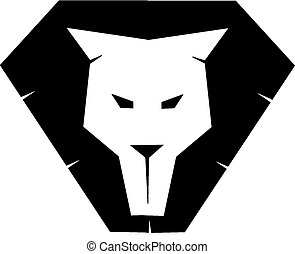 Lion face silhouette - face of lion for designing