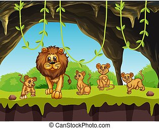 Lion family in nature