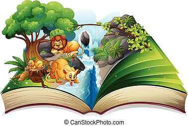 Lion faminly living by the waterfall