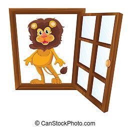 lion, fenêtre
