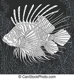 Lion-fish in black and white style