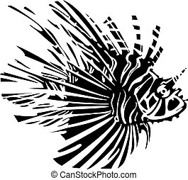 Lion Fish in the ocean - Woodcut style image of a tropical ...
