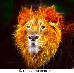 lion, flammes
