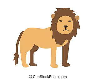 Lion. Flat vector illustration. Isolated on white background.