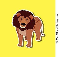 lion, fond jaune