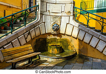 Lion Fountain in a French Plaza