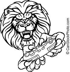 lion, gamer, mascotte