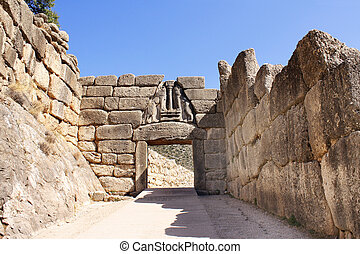 Lion Gate, Archaeological Site of Mycenae, Greece - The Lion...