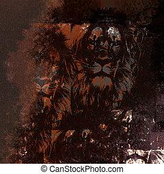 lion, grunge