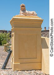Lion guarding the entrance to the Castle of Good Hope