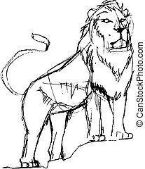 Lion hand drawn ink sketch