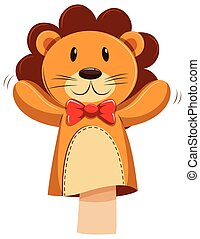 Lion hand puppet with red bow