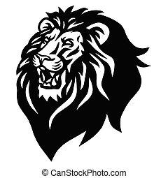 Lion Head Beast Roaring Logo Vector Illustration