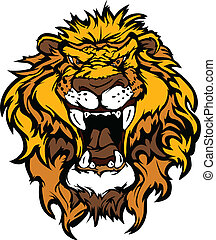 Lion Head Cartoon Mascot Illustrati - Cartoon Mascot Image...