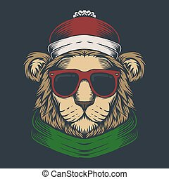 Lion head christmas vector illustration