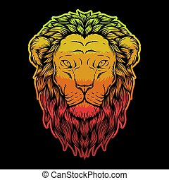 Lion head colorful illustration