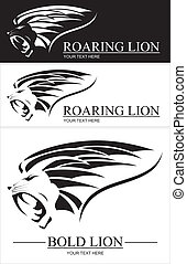 Lion head combine with text