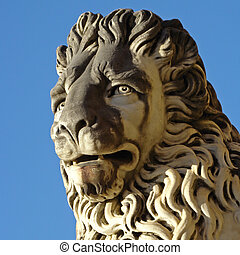 lion head, detail of  antique sculpture from Boboli Gardens in Florence