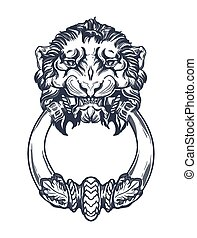 Lion head door knocker. Hand drawn vector illustration ...