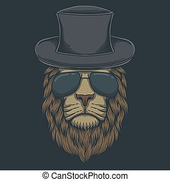 Lion head eyeglasses vector illustration