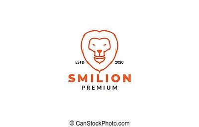 lion head face smile line logo design