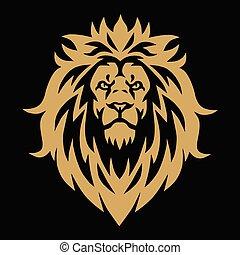 Lion Head Gold Golden Esport Logo Mascot Vector Illustration Design