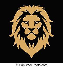 Lion Head Gold Golden Logo Vector Template Illustration Design