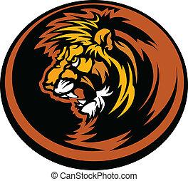 Lion Head Graphic Mascot Illustrati