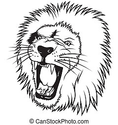 Outlined Lion Head Cartoon Mascot Character You can use it for amazing apparel and sports team mascot design creation! can stock photo