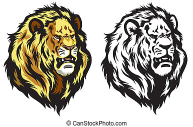 Powerful Lion Head In Motion Vector Tattoo Stencil