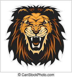 Lion head vector illustration on white background