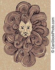 Lion head illustration. stylized, grunge styil