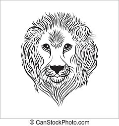 Lion head in black and white linear style vector illustration