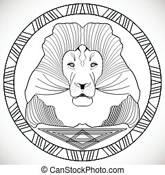 Lion head in circle frame, black and white drawing