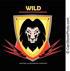 Lion head. Lion head on the shield