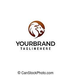 lion head logo design concept template vector
