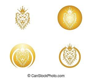 Lion head logo design vector template