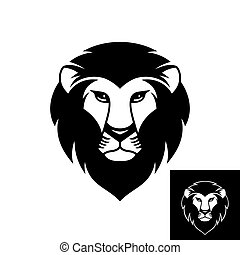 Lion head logo or icon in black and white color.