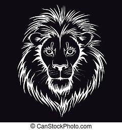 Lion head logo. Vector illustration, isolated on black background.