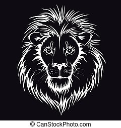 Lion head logo. Vector illustration, isolated on black background.