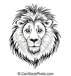 Lion head logo. Vector illustration, isolated on white background.