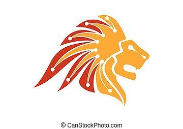 Lion Head Logo Vector Template Illustration Design, Technology logo concept