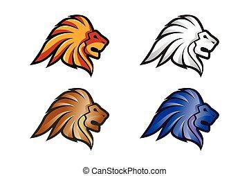 Lion Head Logo Vector Template Illustration Design, Wild Lion Head Mascot
