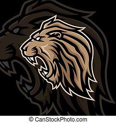 lion head mascot logo vector design template