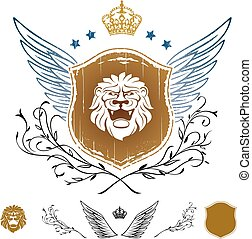 Lion Head on Shield Winged Insignia