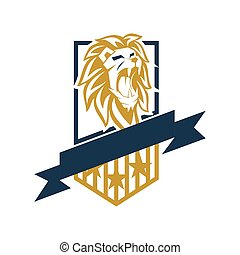 Lion Head Shield Star Logo Design Illustration Isolated